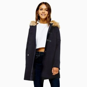 NWT Topshop faux fur hooded coat, size 2, navy
